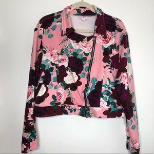 Lularoe pink floral cropped moto style jacket